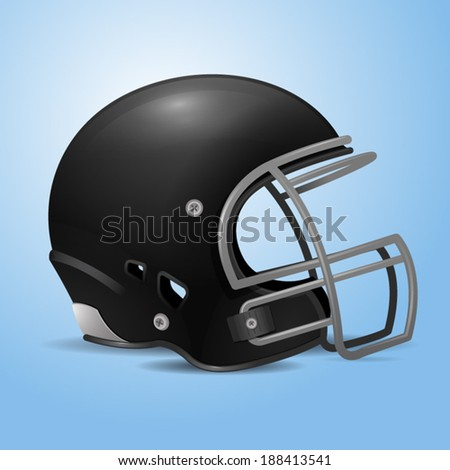 Black football helmet vector illustration.