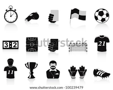 black football icons set - stock vector