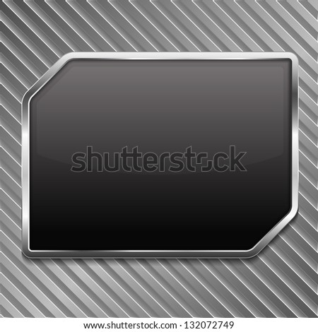 Black frame on a striped metallic background, vector eps10 illustration - stock vector