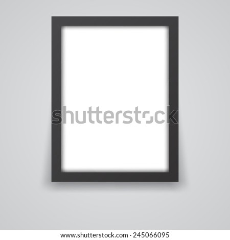 Black frame on a white wall - stock vector