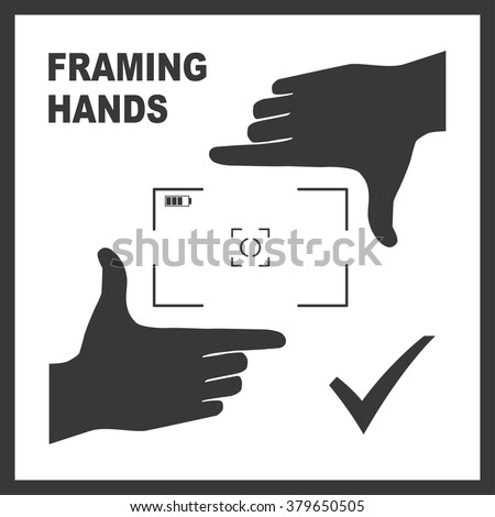 Black framing hands as a template for photo design. Nice frame made from fingers. Vector perspective view illustration. - stock vector