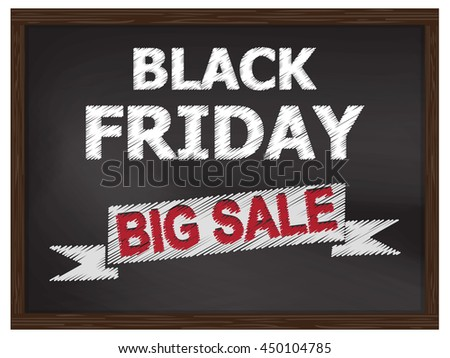Black Friday and big sale on chalkboard for background