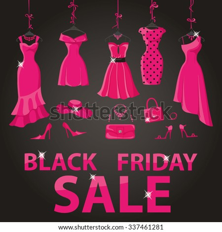Black friday Big Sale.Pink party dresses hanging on the ribbon with accessories and title.Typographic design,black background.Fashion wear,vector.Christmas,winter shopping,retail,discount poster - stock vector