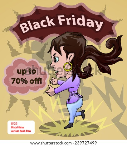 black friday cartoon character with discount text  - stock vector