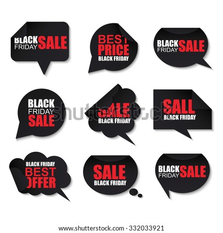 Black friday collection realistic curved paper speech bubbles on white background. Can be used for e-commerce, e-shopping, flyers, posters, web design and printed materials. - stock vector