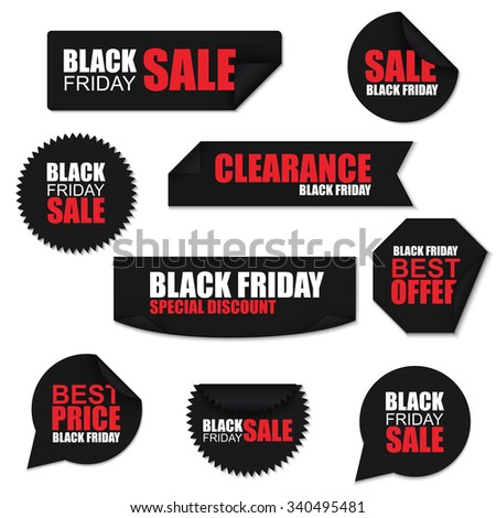 Black friday collection realistic curved paper stickers on white background. Can be used for e-commerce, e-shopping, flyers, posters, web design and printed materials. - stock vector