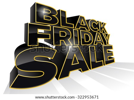 Black Friday is the day following Thanksgiving Day in the United States. This ultra dynamic 3D illustration is a great way to promote the sales on offer in the retail workplace.  - stock vector