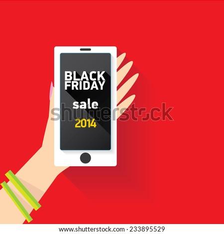 black friday online sale concept illustration - stock vector