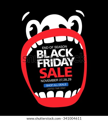 Black friday sale. A large face with an open mouth