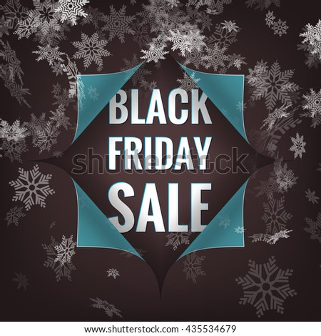 Black Friday sale background. Hole in paper with snowflakes. EPS 10 vector file included - stock vector