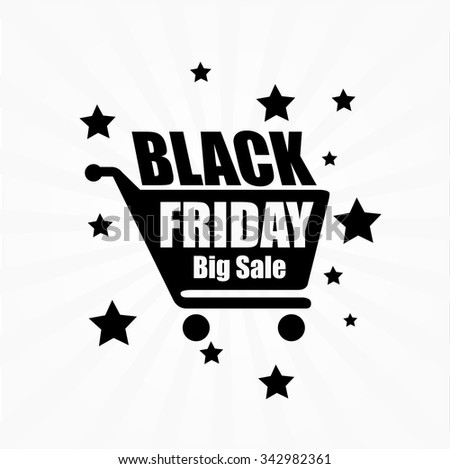 Black friday sale background with shopping cart. Vector illustration.