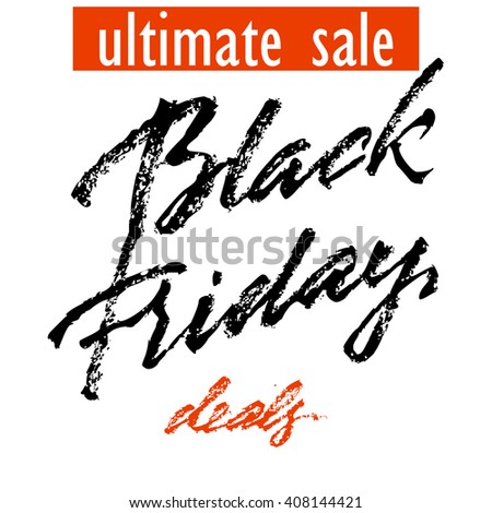 Black Friday Sale badge with handmade lettering, calligraphy and light background for logo, banners, labels, prints, posters, web, presentation. Vector illustration - stock vector