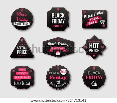 Black Friday Sale badges and labels. Vector illustration. - stock vector