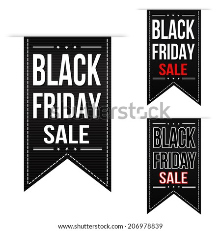 Black friday sale banner design set over a white background, vector illustration - stock vector