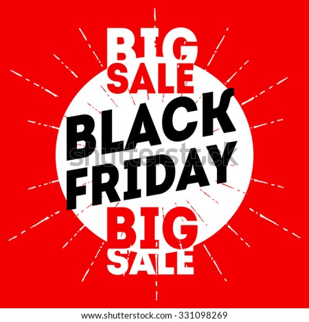 Black friday sale banner on red background. Discount card Vector design template. - stock vector