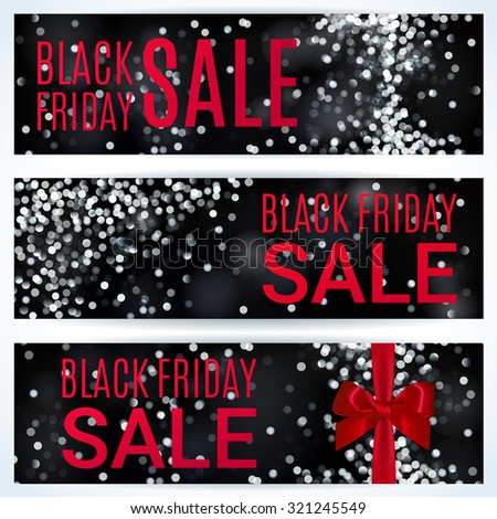 Black Friday Sale BANNERS Collection White Lights Bokeh Background Vector Illustration