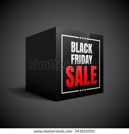 Black friday sale black cube. - stock vector