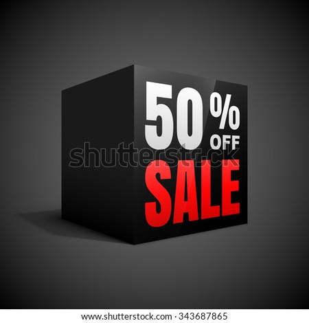 Black friday sale black cube 50 percent discount. - stock vector