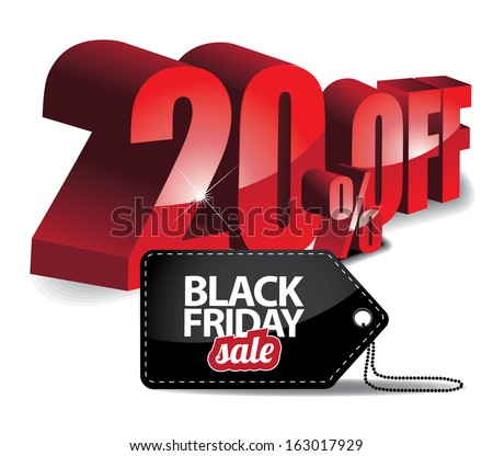 Black Friday sale 3D words and tag. EPS 10 vector, grouped for easy editing. No open shapes or paths. - stock vector
