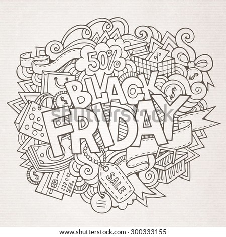Black Friday sale hand lettering and doodles elements and symbols background. Vector hand drawn illustration