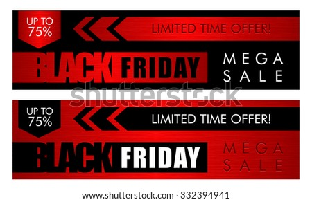 Black friday sale horisontal web banners - stock vector