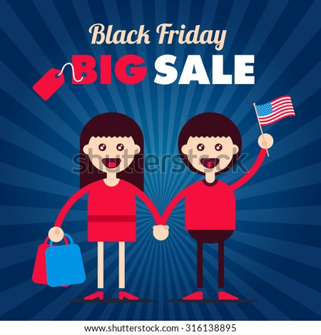 Black friday sale informational plate for discount illustrations with flat styled couple characters. Fully editable vector illustration. Perfect for discounts and sales stickers.   - stock vector