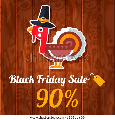 Black friday sale informational plate for discount illustrations with flat styled traditional turkey. Fully editable vector illustration. Perfect for discounts and sales stickers.   - stock vector