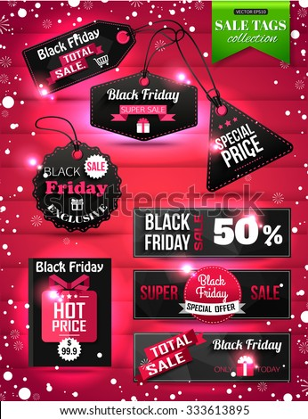 Black Friday Sale paper tags, labels and banners collection. Christmas Sale. Vector illustration. - stock vector