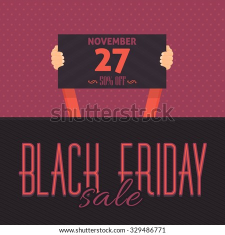 Black Friday Sale Poster, Flyer, Card or Web Banner Advertising Template. Hands Hold Shopping Bag - stock vector