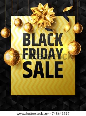 black friday sale poster with golden ribbon and christmas decoration elements for retailshopping or