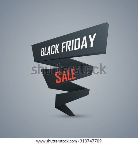 Black Friday sale promotional background. 3d polygonal object with text. Discounts advertising poster template. Eps10 vector illustration. - stock vector