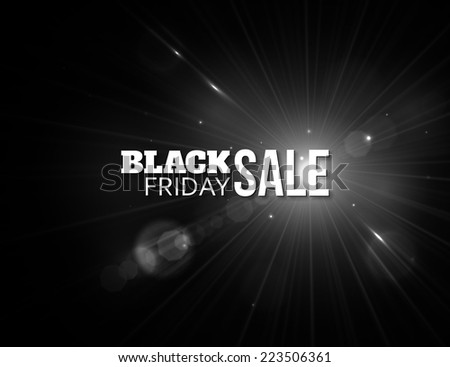Black friday sale. Shining christmas background with blurred bokeh lights and place for text. Vector illustration. - stock vector
