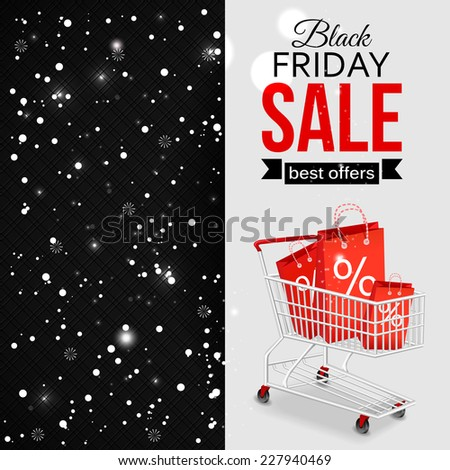 Black friday sale shining typographical background with shopping cart and place for text. Vector illustration.