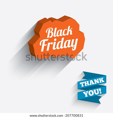 Black Friday sale sign icon. Special offer symbol. White icon on orange 3D piece of wall. Carved in stone with long flat shadow. Vector