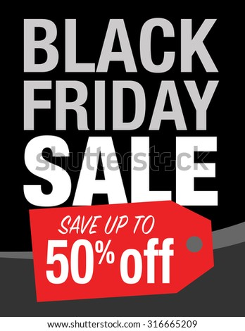 Black Friday sale sign with up to 50% off original price - stock vector