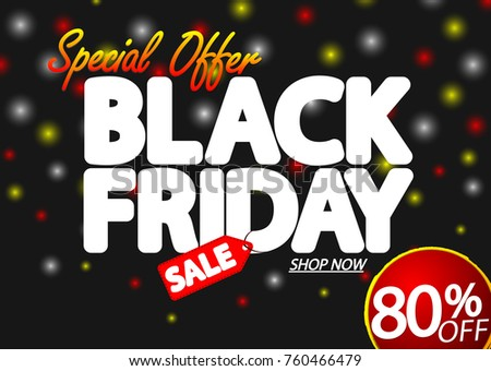 black friday sale special offer discount 80 off poster design template