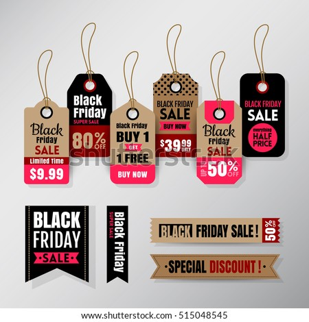 black friday sale tag ribbon banners