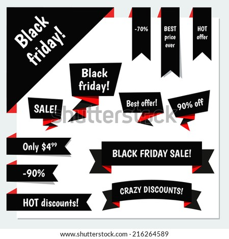 Black Friday Sale vector speech bubbles, ribbons, corner for your design. For sales promotion and advertising in Black Friday - stock vector