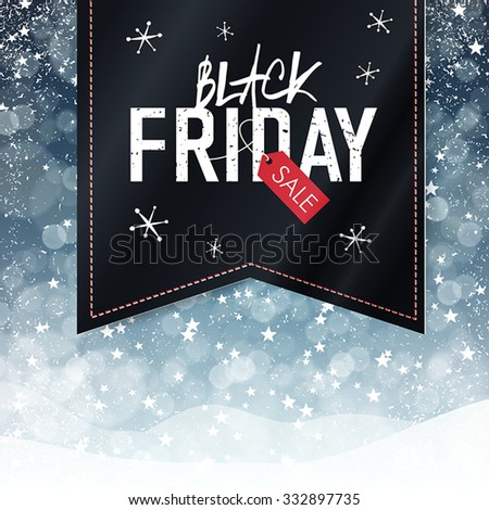 Black Friday sales Advertising Poster with Snow Fall Background. Christmas sale - stock vector
