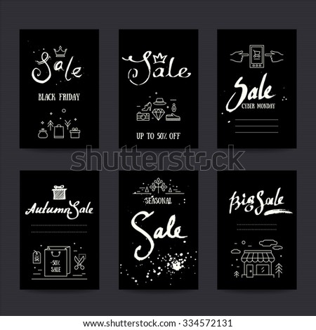 Black friday sales tag, ad banner, flyer, poster template. Thin line concept illustrations, handwritten text, brush strokes and ink splatters. Shopping and retail vector collection. - stock vector