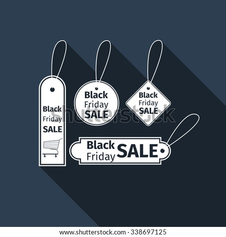 Black Friday sales tag icon with long shadow. Vector illustration