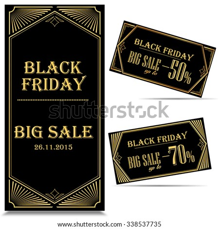 Black Friday sales tag. SALE Tags and Labels, special offer. Art Deco Style. In vector - stock vector