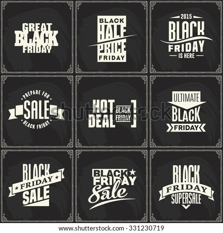 Black Friday vector label template for advertising sale print chalk on blackboard background