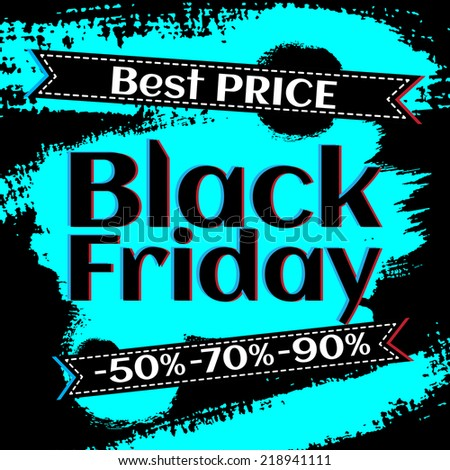 Black Friday vector Vintage grungy design poster template. Retro style Typography. Yellow and black. Trendy. - stock vector