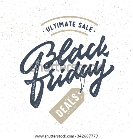 Black Friday. Vintage Promo badge sign label symbol. Vintage Brush Script Lettering.Great way to spread the word about your business,special offers,discounts,deals,bargain etc. Vector Illustration. - stock vector