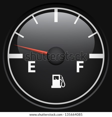 Black fuel gage isolated on black background vector template. - stock vector