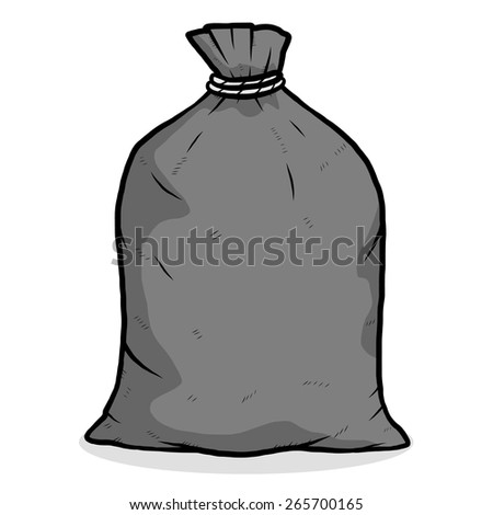 black garbage bag / cartoon vector and illustration, grayscale, hand drawn style, isolated on white background. - stock vector