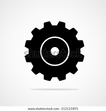 Black gear or cog vector icon with shadow on a white background. - stock vector