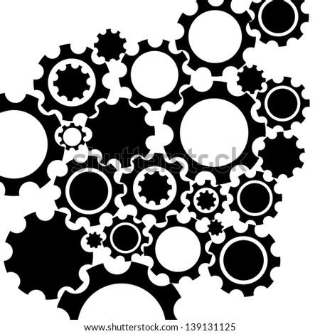 Black gears mechanism background. - stock vector