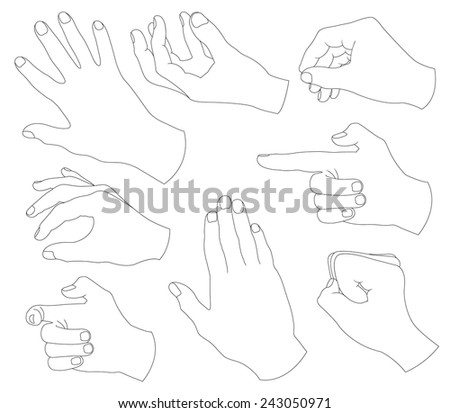 black gesture hand - stock vector